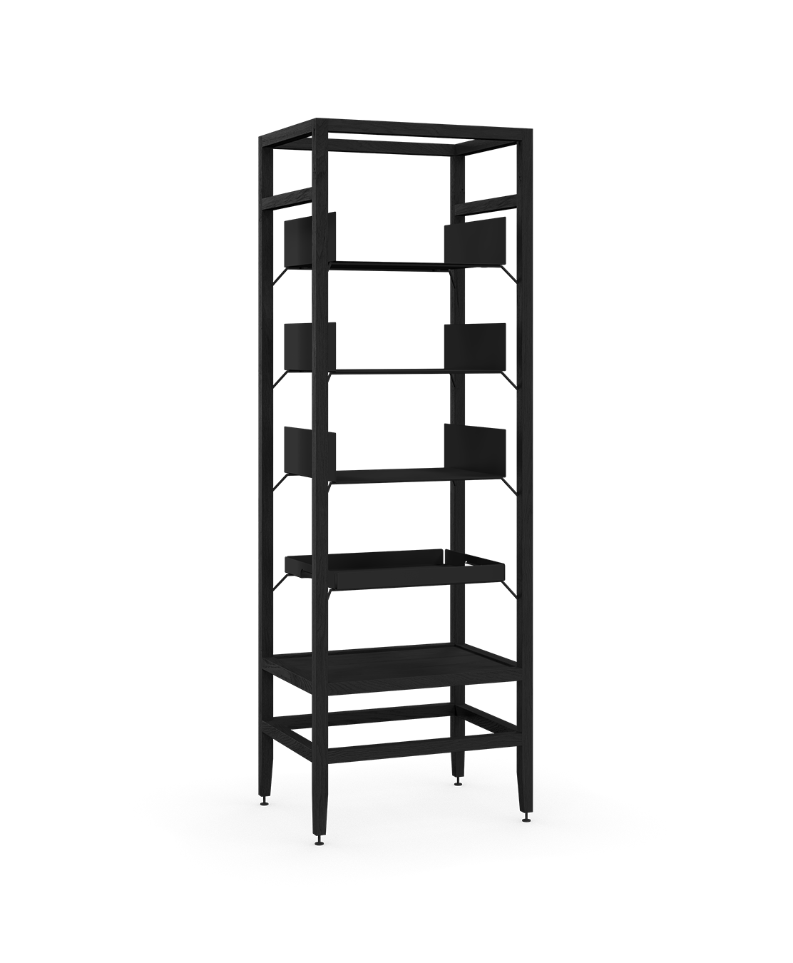 coquo volitare midnight black stained oak solid wood modular 3 shelves 1 removable tray storage tall bookcase shelving unit 24 inch C2-S-2418-0002-BK