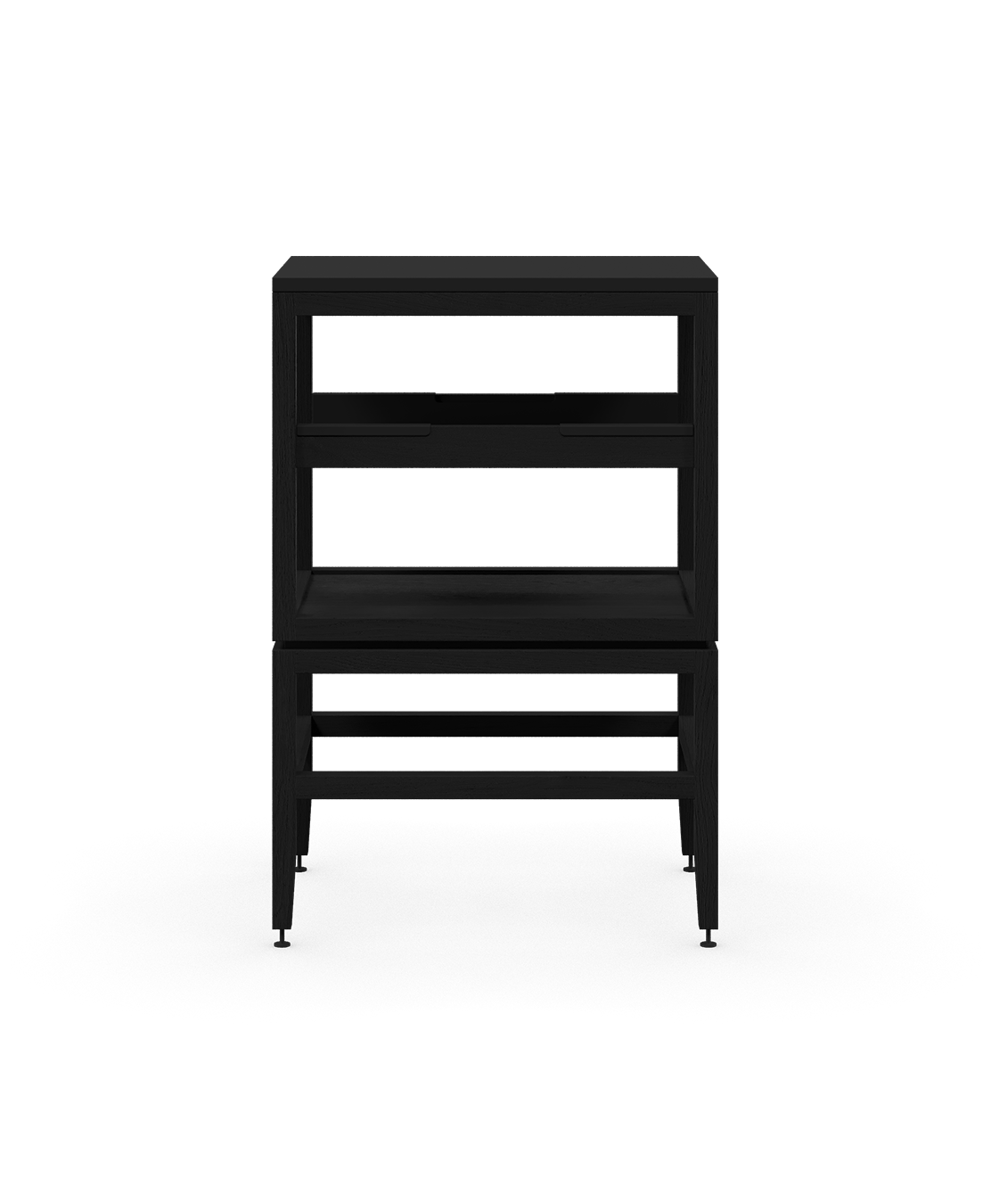 coquo volitare midnight black stained oak solid wood modular cube 1 shelf storage open cabinet 18 inch C2-N-1824-0012-BK