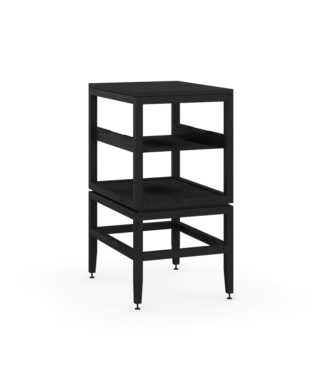 coquo volitare midnight black stained oak solid wood modular cube 1 shelf storage open cabinet 18 inch C2-N-1824-0012-BK