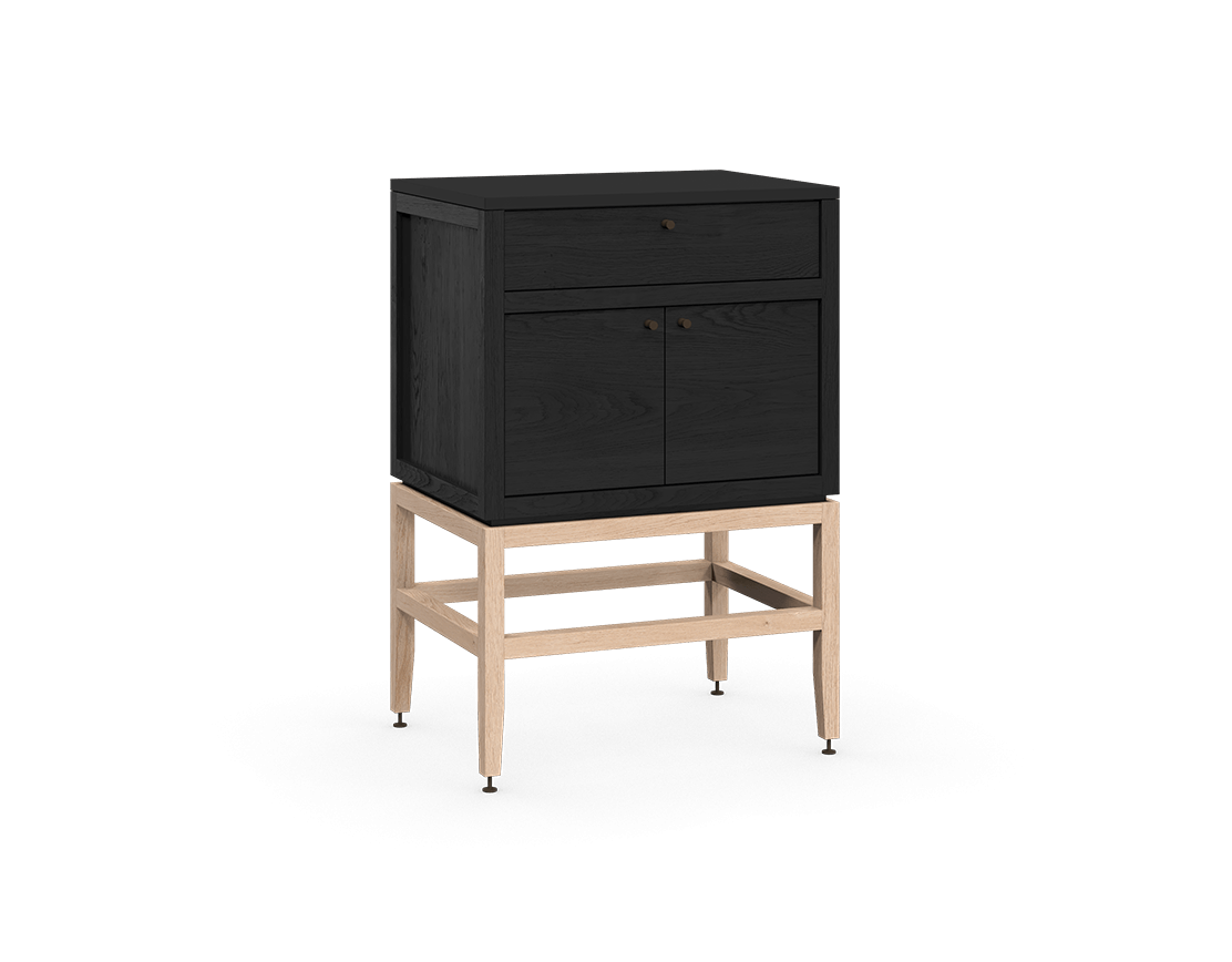 coquo volitare midnight black stained oak white oak solid wood modular 1 drawer 2 doors storage base cabinet 24 inch C2-C-2418-1201-BK-NA