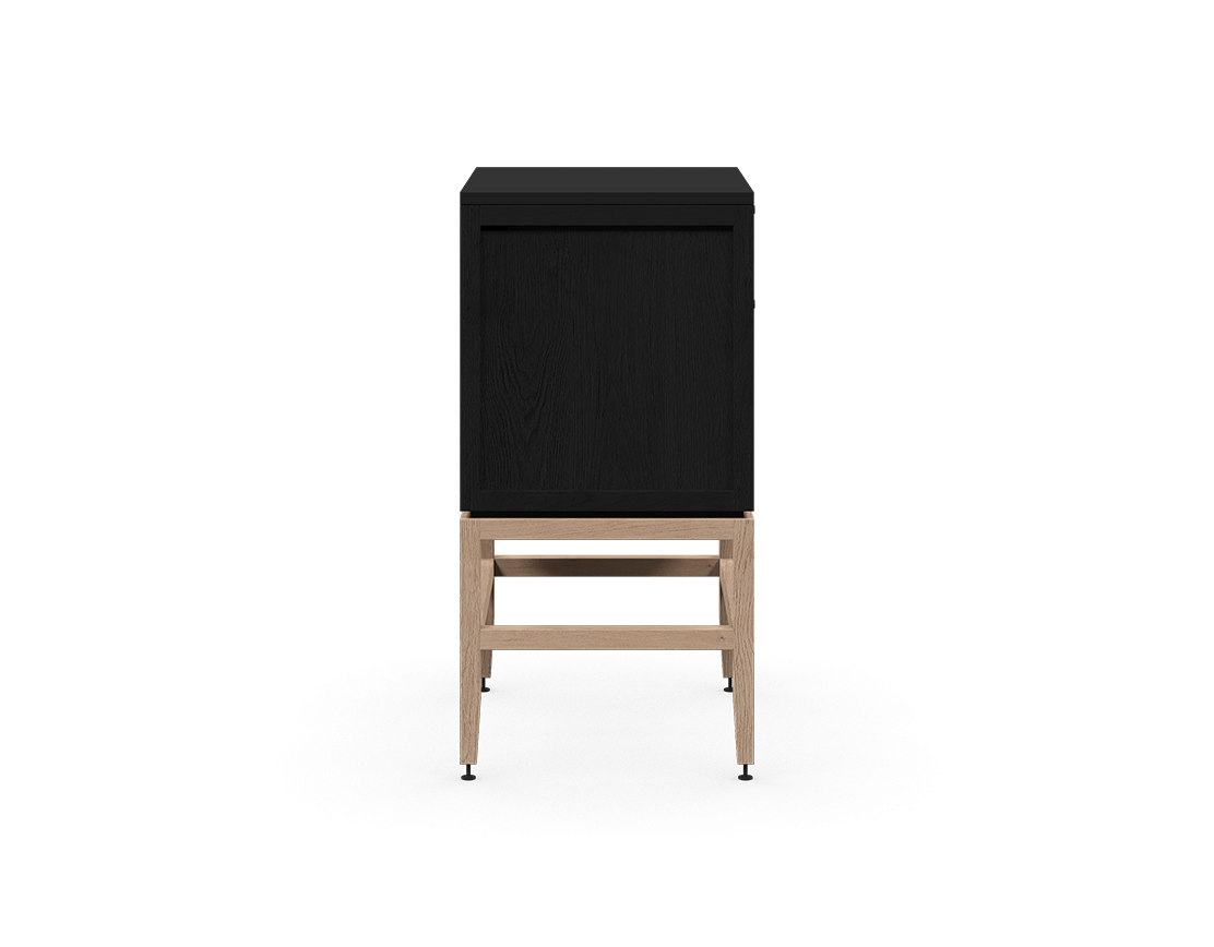 coquo volitare midnight black stained oak white oak solid wood modular 2 drawers storage base cabinet 24 inch C2-C-2418-2002-BK-NA