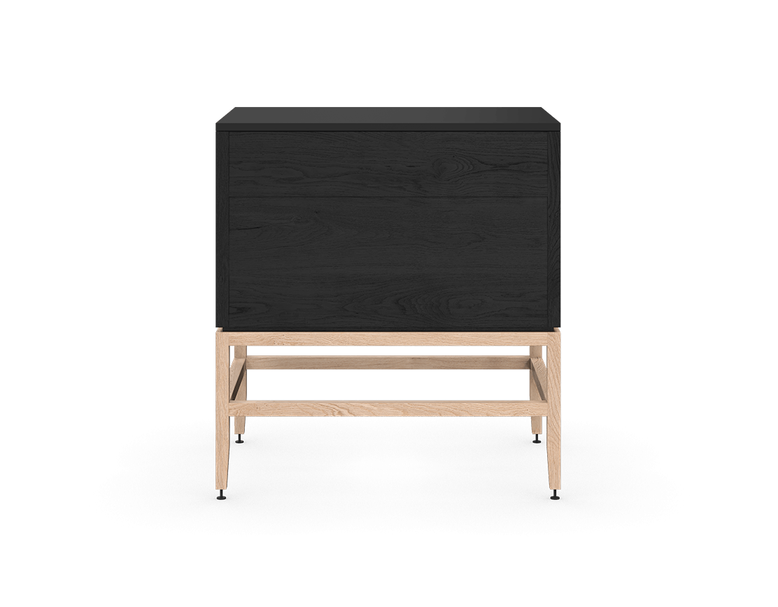 coquo volitare midnight black stained oak white oak solid wood modular 2 drawers storage base cabinet 33 inch C2-C-3324-2002-BK-NA
