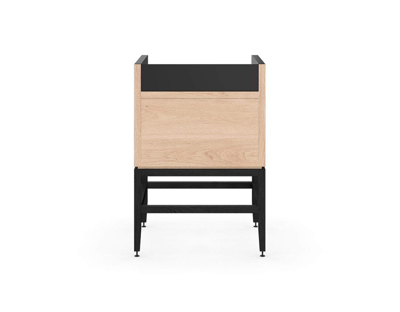 coquo volitare midnight black stained white oak solid wood modular 1 bin 1 drawer storage coffee bar station cabinet 24 inch C2-C-2418-1012-NA-BK