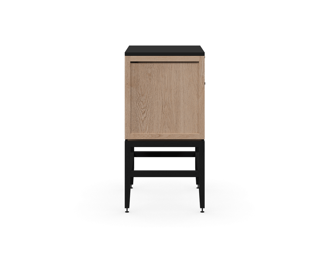 coquo volitare midnight black stained white oak solid wood modular 1 drawer 2 doors storage base cabinet 24 inch C2-C-2418-1202-NA-BK