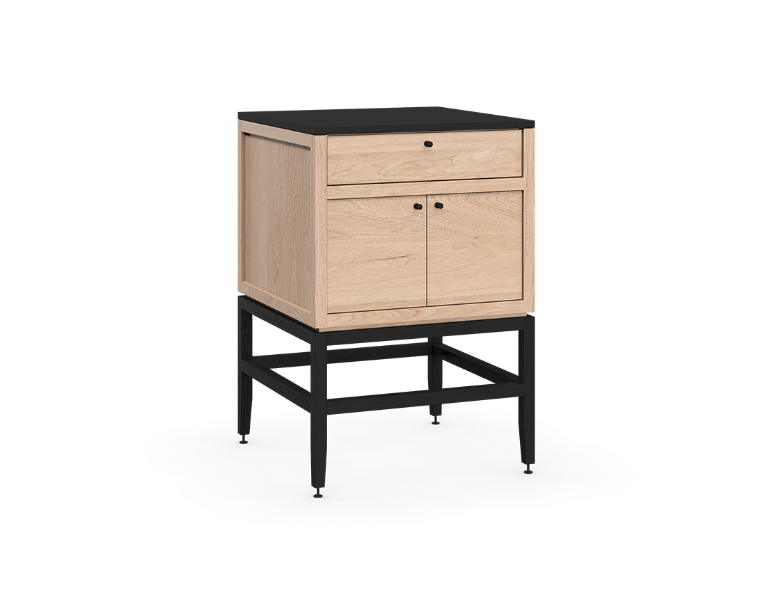 coquo volitare midnight black stained white oak solid wood modular 1 drawer 2 doors storage base cabinet 24 inch C2-C-2424-1202-NA-BK