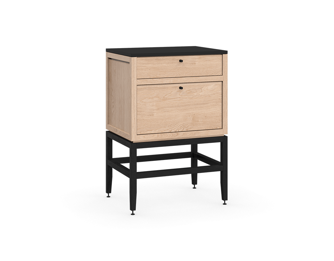 coquo volitare midnight black stained white oak solid wood modular 2 drawers storage base cabinet 24 inch C2-C-2418-2002-NA-BK