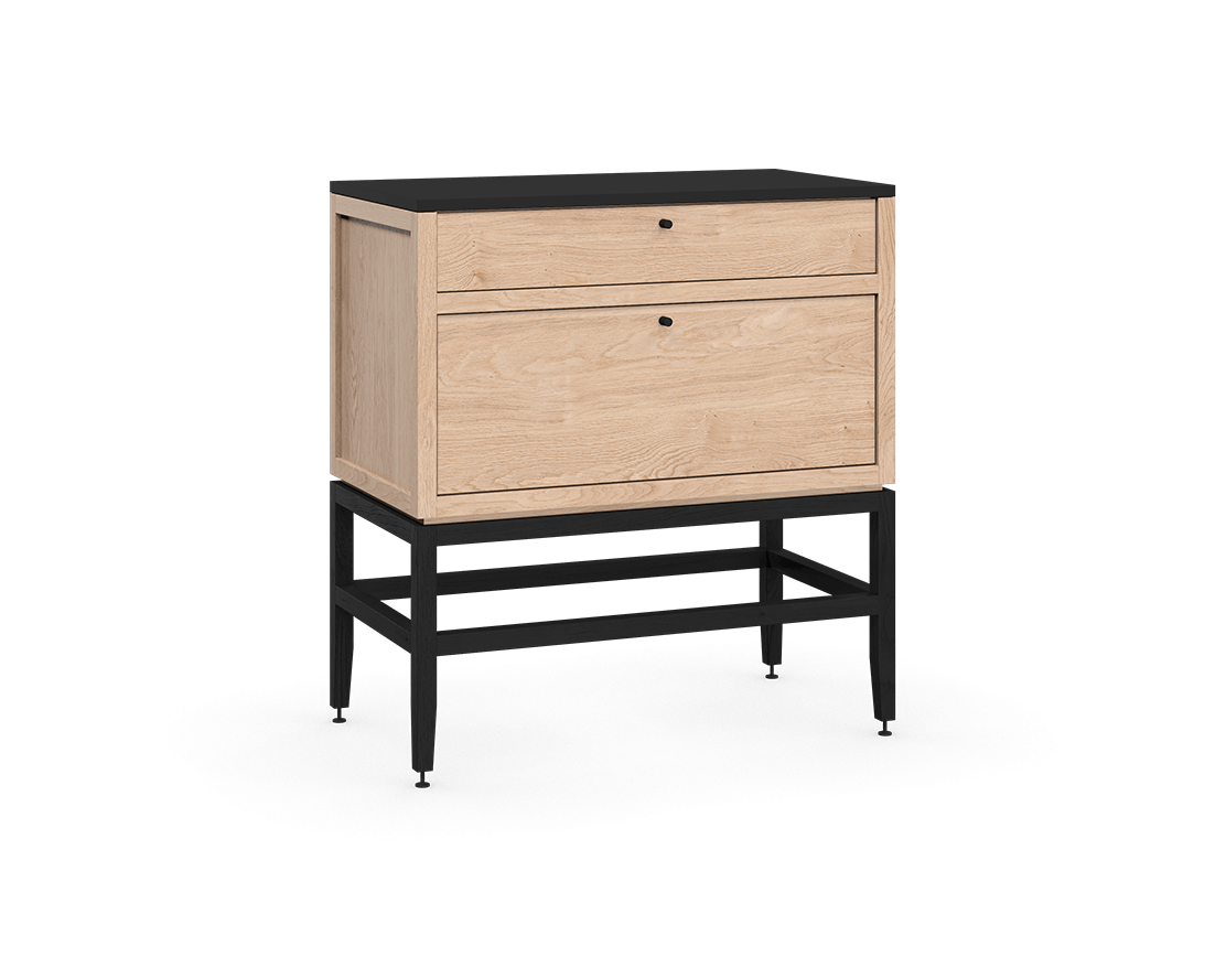 coquo volitare midnight black stained white oak solid wood modular 2 drawers storage base cabinet 33 inch C2-C-3318-2002-NA-BK