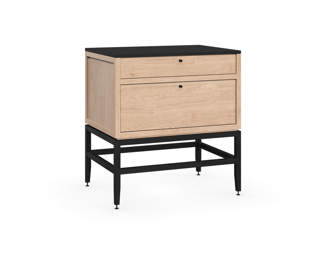 coquo volitare midnight black stained white oak solid wood modular 2 drawers storage base cabinet 33 inch C2-C-3324-2002-NA-BK
