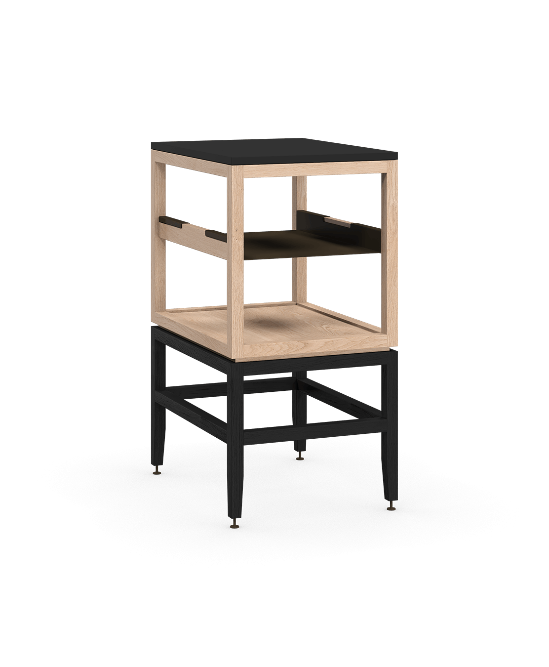 coquo volitare midnight black stained white oak solid wood modular cube 1 shelf storage open cabinet 18 inch C2-N-1824-0011-NA-BK