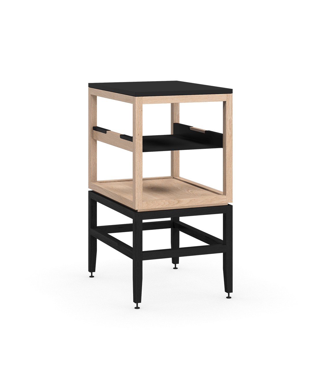 coquo volitare midnight black stained white oak solid wood modular cube 1 shelf storage open cabinet 18 inch C2-N-1824-0012-NA-BK