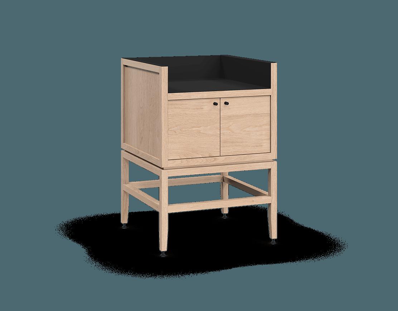 coquo volitare white oak solid wood modular 1 bin 2 doors storage coffee bar station cabinet 24 inch C2-C-2418-0212-NA