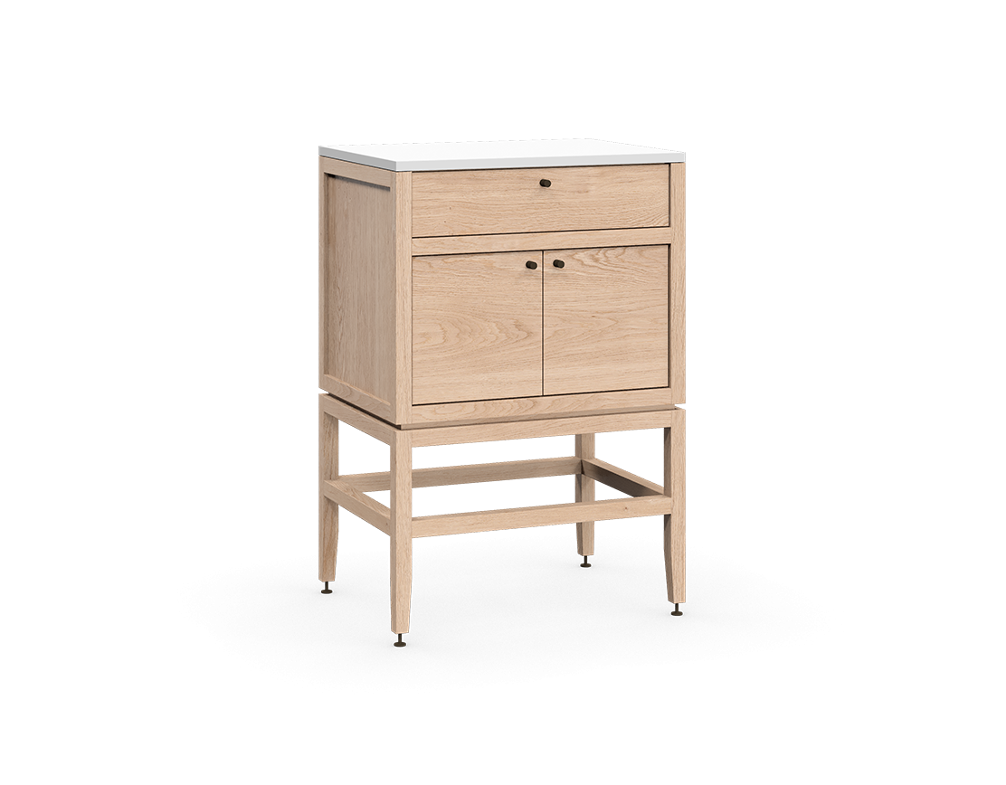 coquo volitare white oak solid wood modular 1 drawer 2 doors storage base cabinet 24 inch C2-C-2418-1201-NA