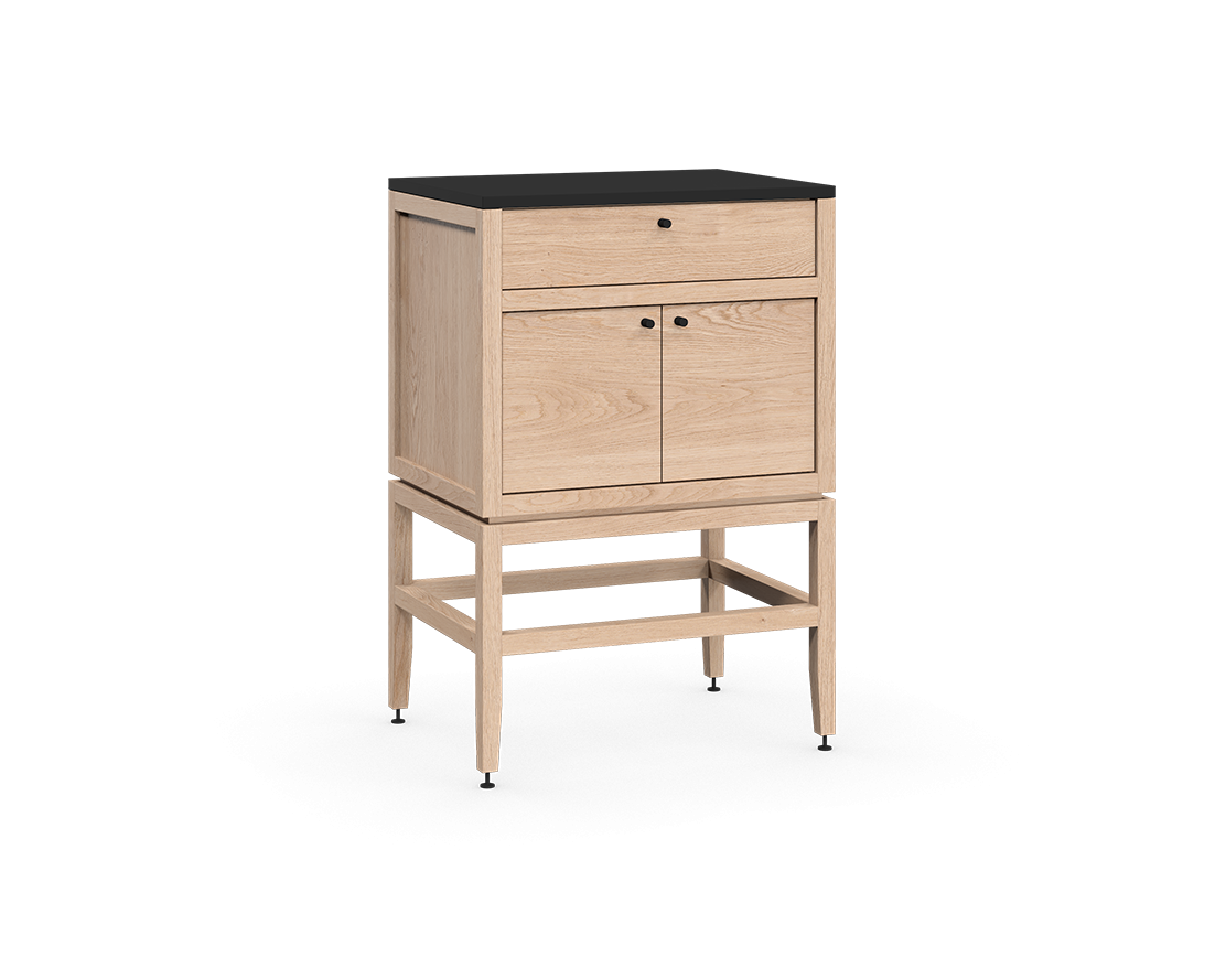 coquo volitare white oak solid wood modular 1 drawer 2 doors storage base cabinet 24 inch C2-C-2418-1202-NA