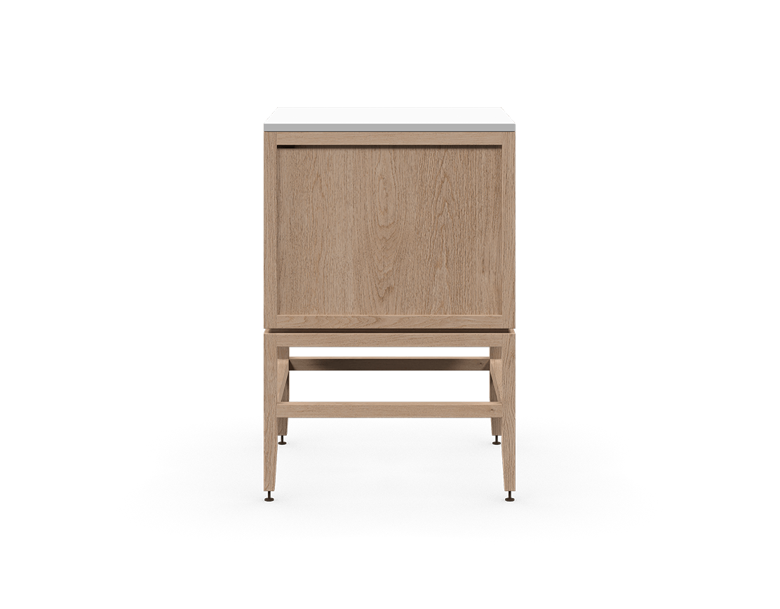 coquo volitare white oak solid wood modular 1 drawer 2 doors storage base cabinet 24 inch C2-C-2424-1201-NA