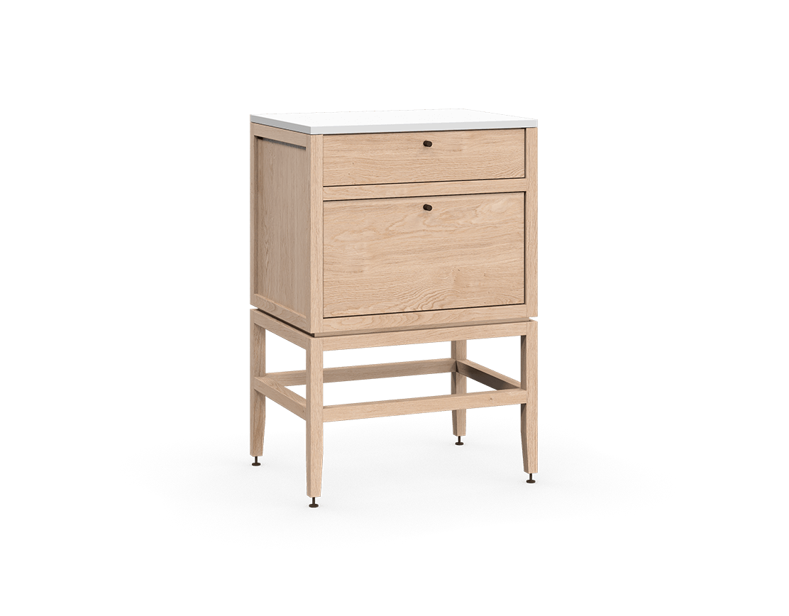 coquo volitare white oak solid wood modular 2 drawers storage base cabinet 24 inch C2-C-2418-2001-NA