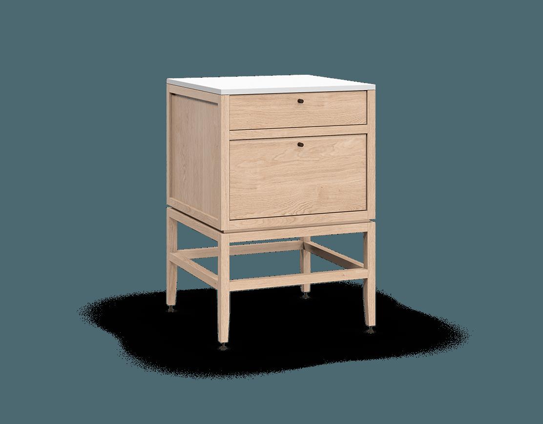 coquo volitare white oak solid wood modular 2 drawers storage base cabinet 24 inch C2-C-2424-2001-NA