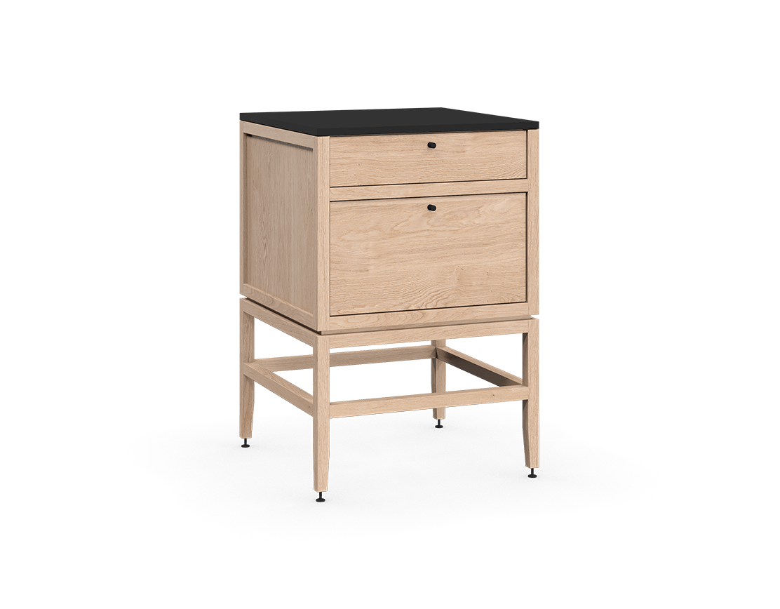 coquo volitare white oak solid wood modular 2 drawers storage base cabinet 24 inch C2-C-2424-2002-NA