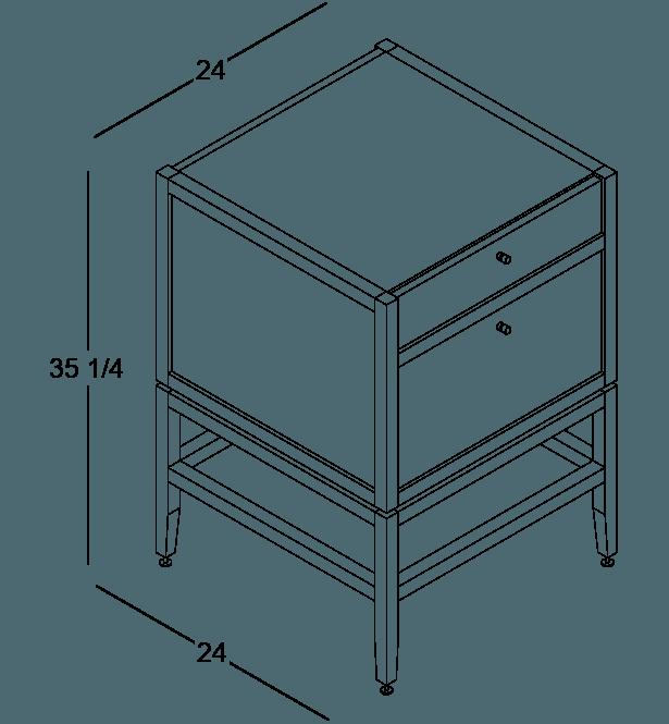 coquo volitare white oak solid wood modular 2 drawers storage base cabinet 24 inch C2-C-2424-2003-NA