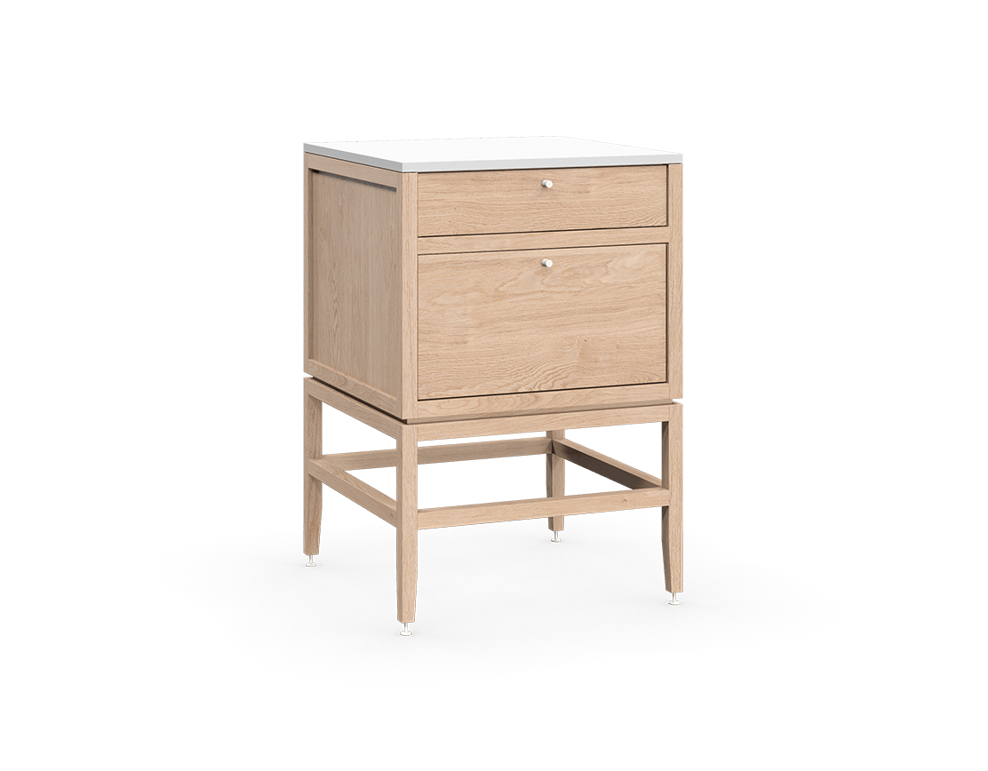coquo volitare white oak solid wood modular 2 drawers storage base cabinet 24 inch C2-C-2424-2003-NA