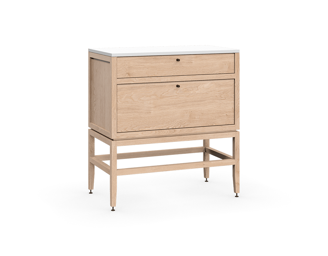 coquo volitare white oak solid wood modular 2 drawers storage base cabinet 33 inch C2-C-3318-2001-NA