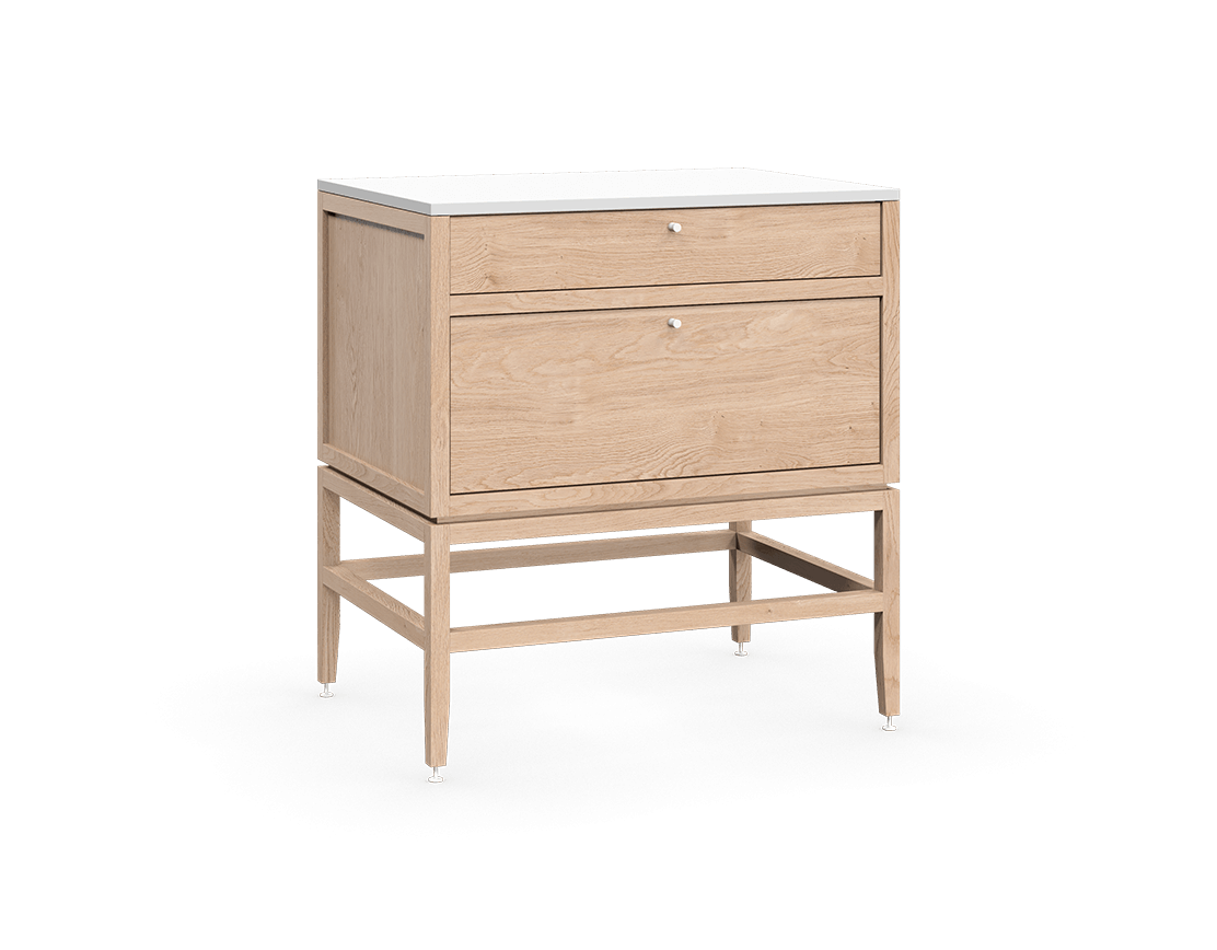 coquo volitare white oak solid wood modular 2 drawers storage base cabinet 33 inch C2-C-3324-2003-NA