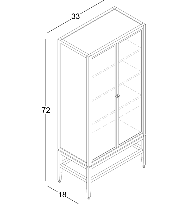 coquo volitare white oak solid wood modular 2 glass doors storage glass display hutch cabinet 33 inch C2-D-3318-1203-NA