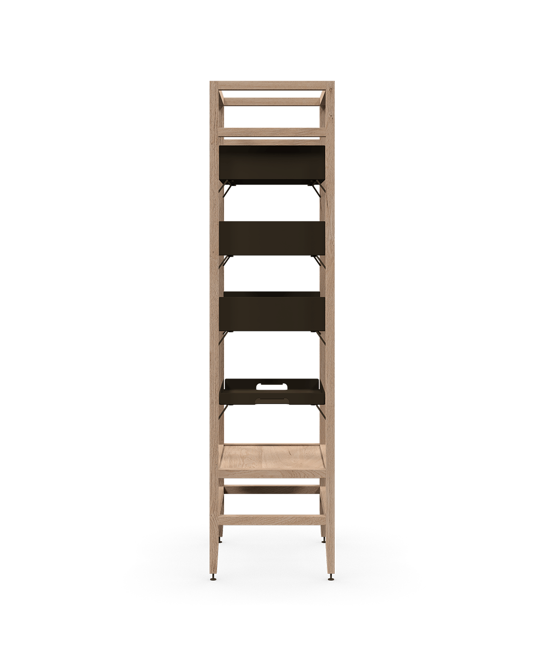 coquo volitare white oak solid wood modular 3 shelves 1 removable tray storage tall bookcase shelving unit 24 inch C2-S-2418-0001-NA