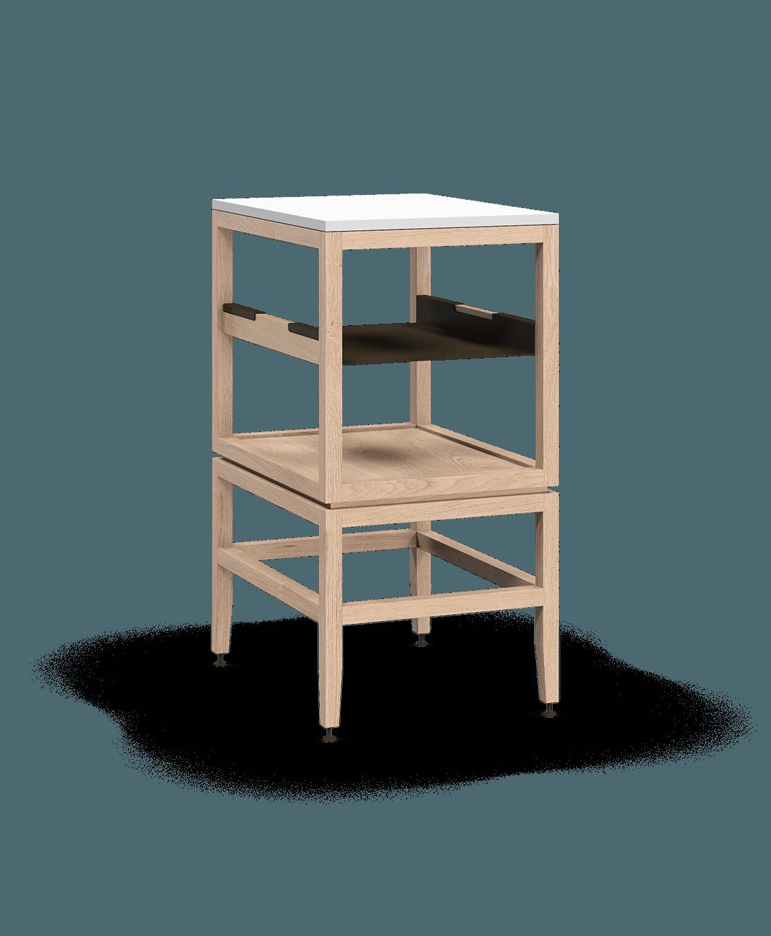 coquo volitare white oak solid wood modular cube 1 shelf storage open cabinet 18 inch C2-N-1824-0011-NA