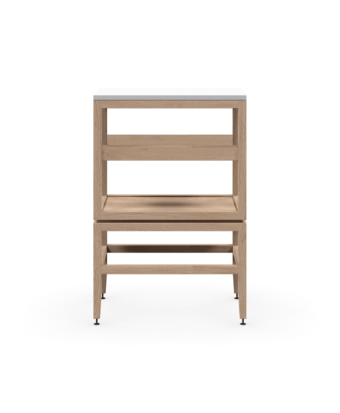 coquo volitare white oak solid wood modular cube 1 shelf storage open cabinet 18 inch C2-N-1824-001W1-NA