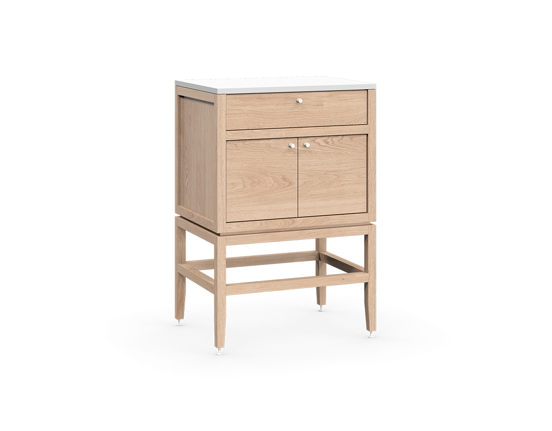 coquo volitare white oak solid wood modular false front 2 doors storage bathroom vanity cabinet 24 inch C2-CSK-2418-0203-NA