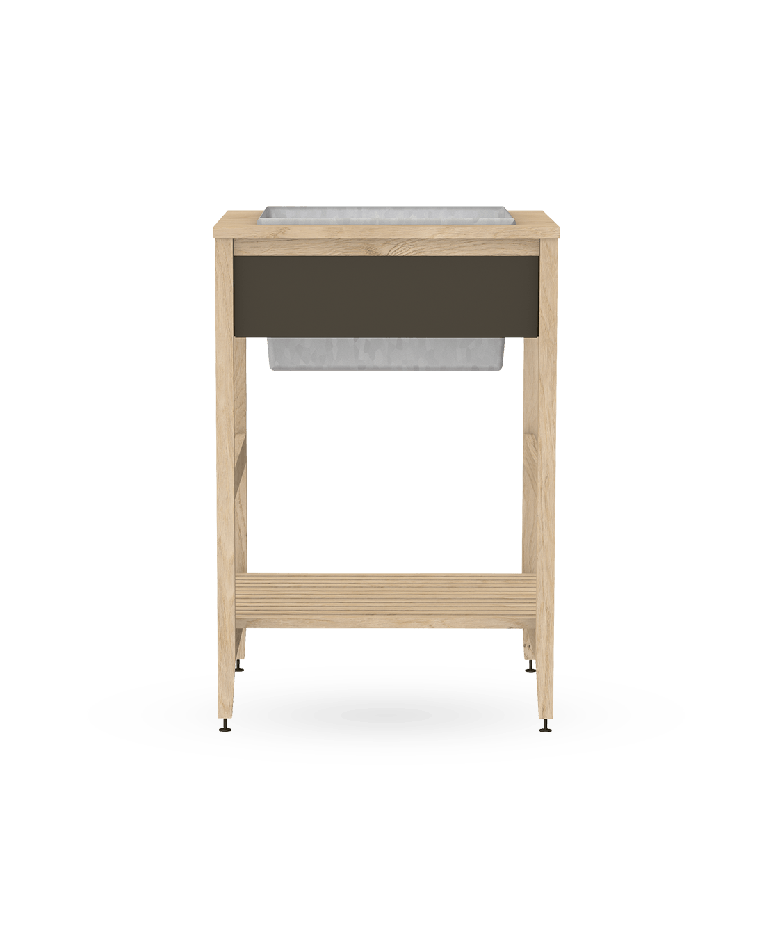 coquo white oak solid wood modular cabinet urban planter 24 inch C1-EXT-24SB-0011-NA