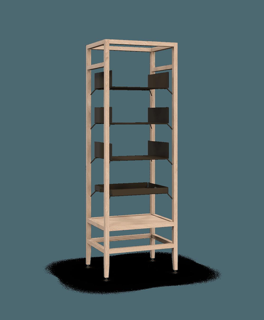 étagère bibliothèque haute modulaire de rangement en bois massif coquo volitare avec 3 tablettes 1 cabaret amovible chêne blanc 24 pouces C2-S-2418-0001-NA