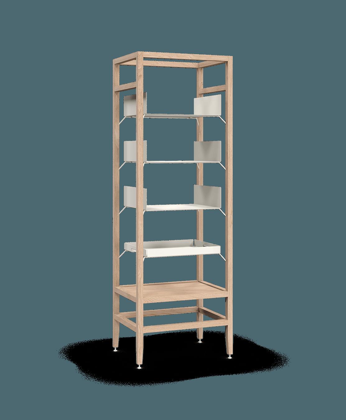 étagère bibliothèque haute modulaire de rangement en bois massif coquo volitare avec 3 tablettes 1 cabaret amovible chêne blanc 24 pouces C2-S-2418-0003-NA