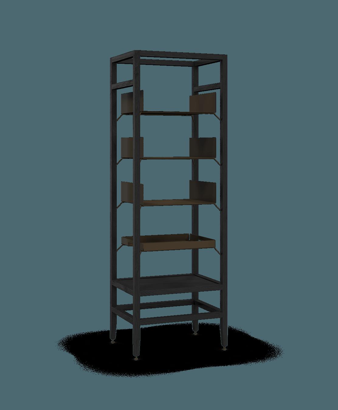 étagère bibliothèque haute modulaire de rangement en bois massif coquo volitare avec 3 tablettes 1 cabaret amovible chêne teint noir nuit profonde 24 pouces C2-S-2418-0001-BK
