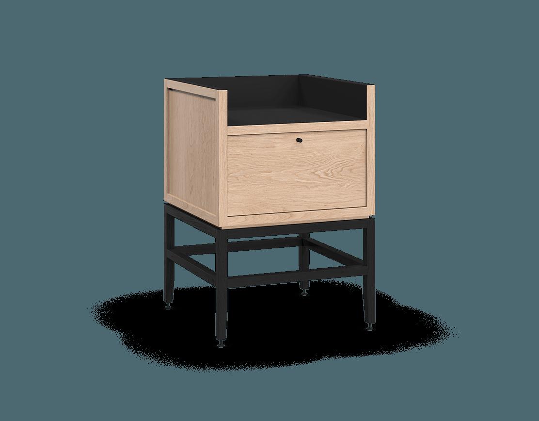 meuble armoire pour coin café bar modulaire de rangement en bois massif coquo volitare avec 1 bac 1 tiroir chêne blanc teint noir nuit profonde 24 pouces C2-C-2418-1012-NA-BK