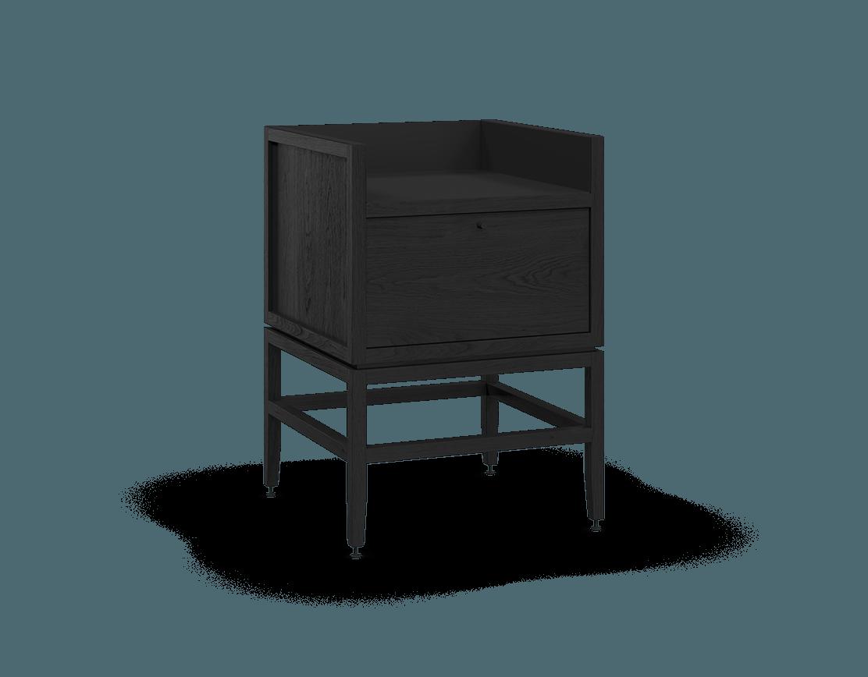 meuble armoire pour coin café bar modulaire de rangement en bois massif coquo volitare avec 1 bac 1 tiroir chêne teint noir nuit profonde 24 pouces C2-C-2418-1012-BK