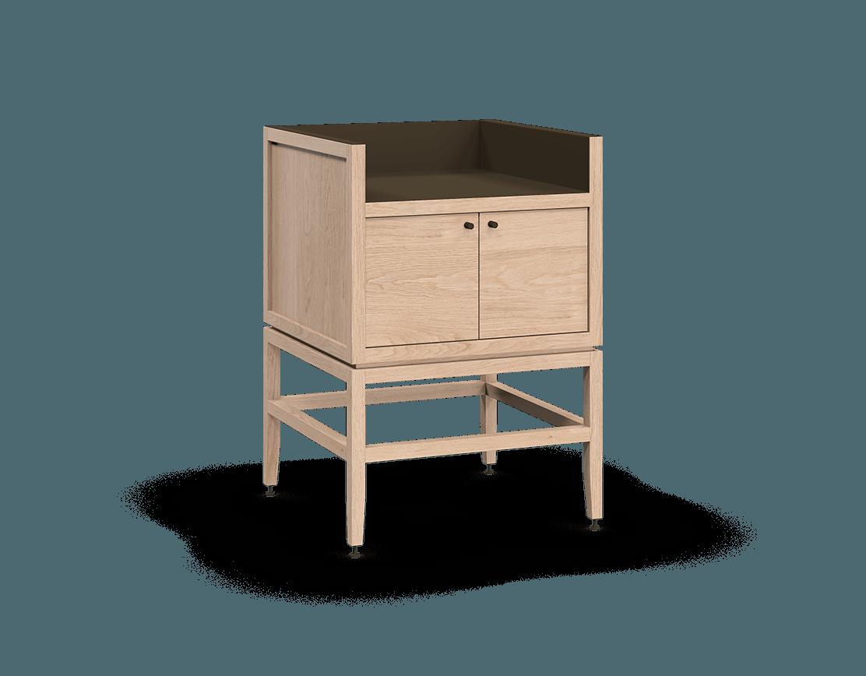 meuble armoire pour coin café bar modulaire de rangement en bois massif coquo volitare avec 1 bac 2 portes chêne blanc 24 pouces C2-C-2418-0211-NA