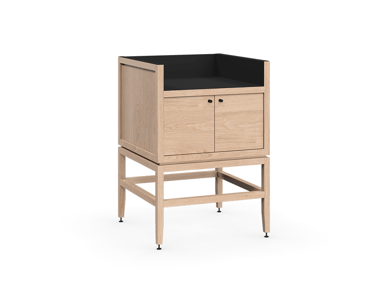 meuble armoire pour coin café bar modulaire de rangement en bois massif coquo volitare avec 1 bac 2 portes chêne blanc 24 pouces C2-C-2418-0212-NA