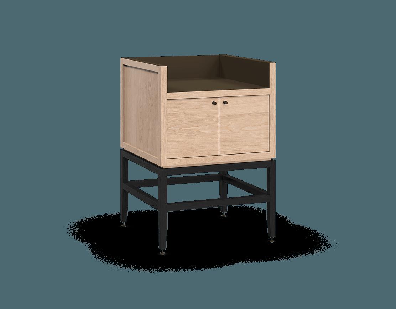 meuble armoire pour coin café bar modulaire de rangement en bois massif coquo volitare avec 1 bac 2 portes chêne blanc teint noir nuit profonde 24 pouces C2-C-2418-0211-NA-BK