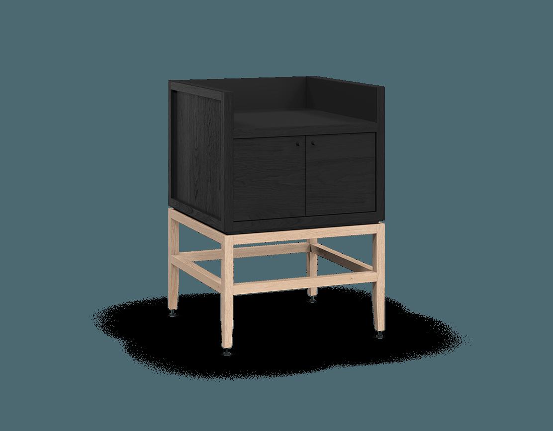 meuble armoire pour coin café bar modulaire de rangement en bois massif coquo volitare avec 1 bac 2 portes chêne teint noir nuit profonde chêne blanc 24 pouces C2-C-2418-0212-BK-NA