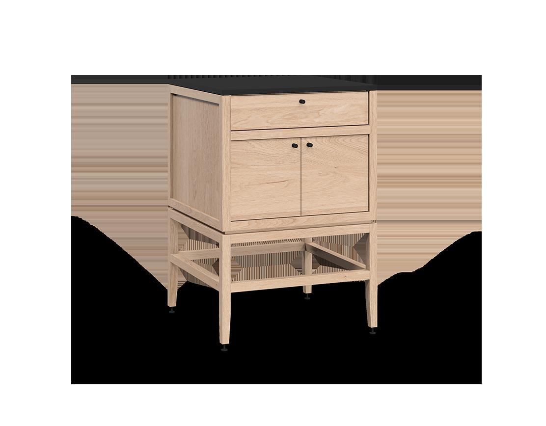 meuble lavabo vanité pour salle de bain modulaire de rangement en bois massif coquo volitare avec 2 portes chêne blanc 24 pouces C2-CSK-2424-0202-NA