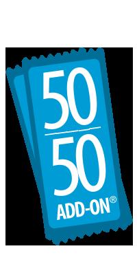 50 50 add on prize logo