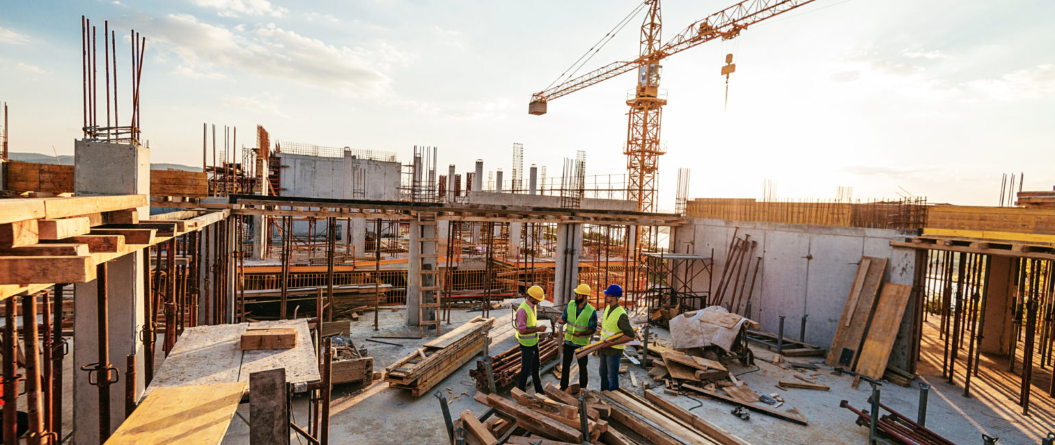 Construction Site with Materials and Workers