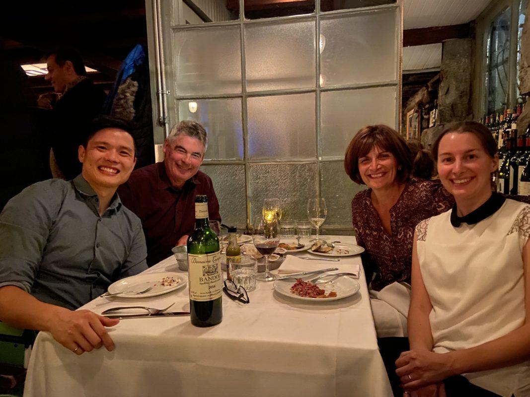 Anh-Tai Vuong and Kevin Weaver having dinner
