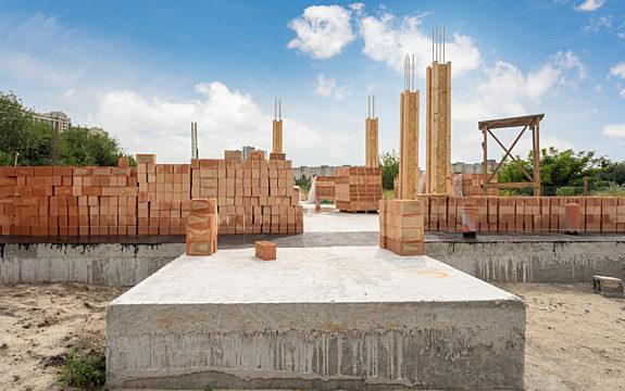 Bricks with Foundation on Job Site