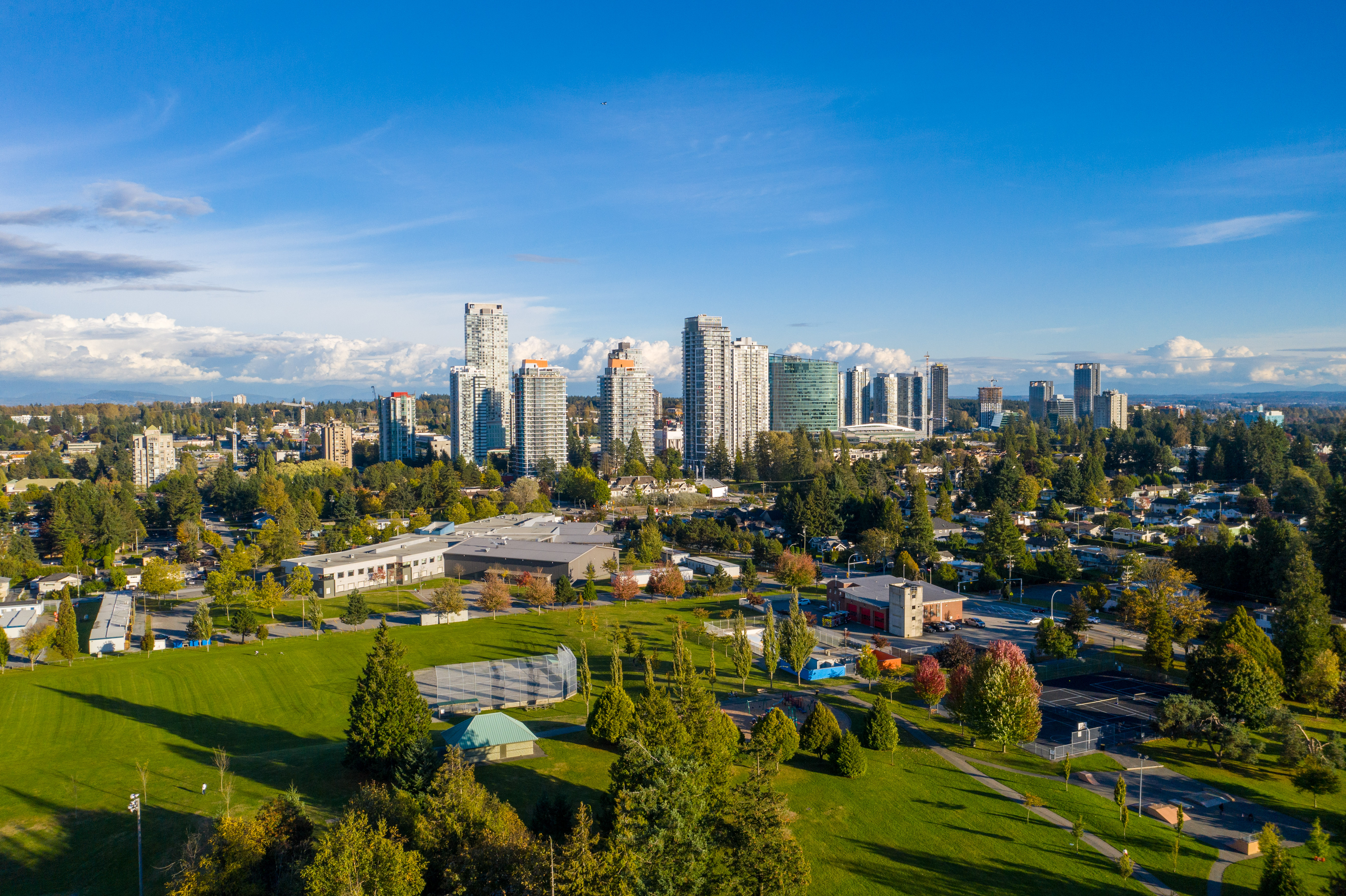 High rise apartments, offices and parks in Surrey City Centre's emerging downtown
