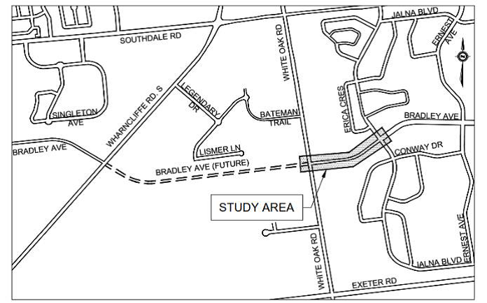 A map of Bradley Avenue and the project area of the extension. For more information or to request the map in an alternate format, please contact Jiten Patel at jpatel@london.ca or call 519-661-2489 x 5013
