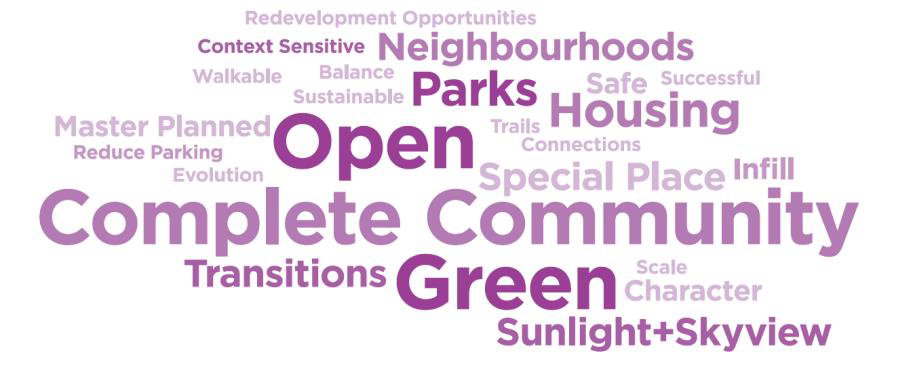Open, complete community, green, parks, neighbourhoods, transitions, housing, special place, sunlight and skyview, safe, character, scale, master planned, context sensitive, redevelopment opportunities, connections, trails, evolution