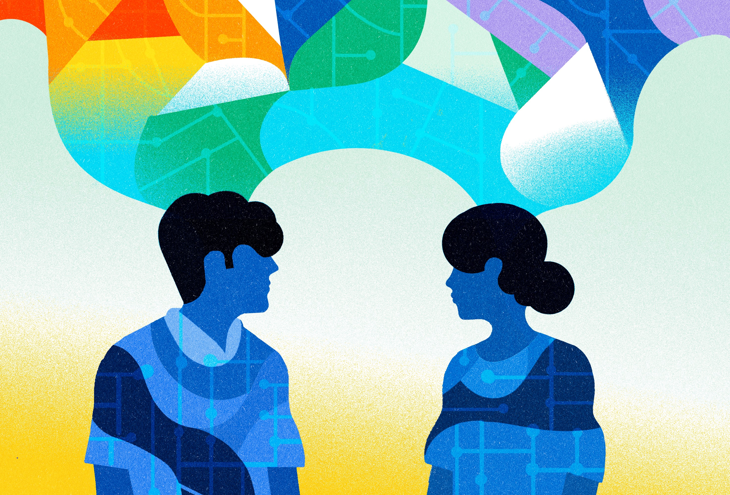 An illustration of a man and a woman looking at each other having a conversation.