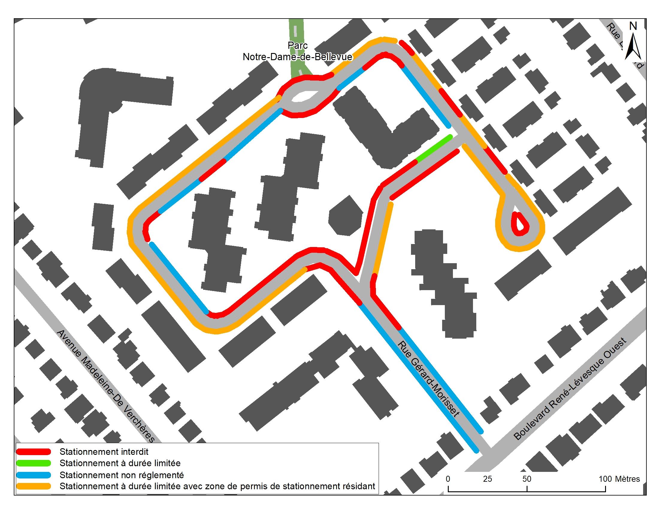 OPTION 2 : Permis de stationnement sur rue au pourtour et stationnement autorisé par endroit à l'intérieur de la boucle